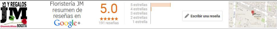 Reseñas de la Floristeria JM para entrega de Regalos a Domicilio en Bogota, Colombia
