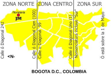 Zonas de Envio de Flores a Bogota