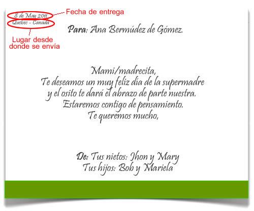 Formato de Mensaje Impreso en Las Floristerias en Bogota JM