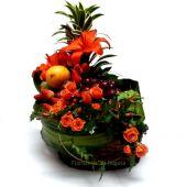 Frutero con Dos Arreglos Florales- Vista por arriba- Domicilio Bogota