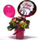 Rosas Sprite y Globo de Cumpleaños