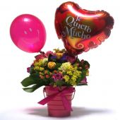 Balde de Rosas con Globo I Love You