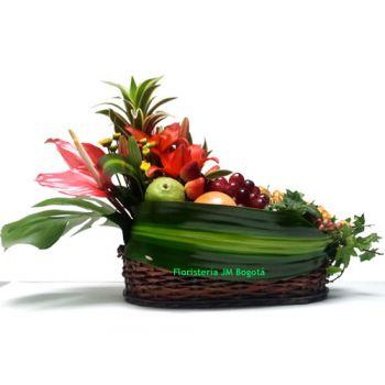 Frutero con dos Arreglos Florales- Domicilio Bogotá