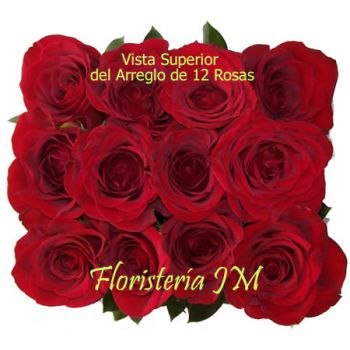 Arreglo con 12 Rosas Rojas- Vista Superior