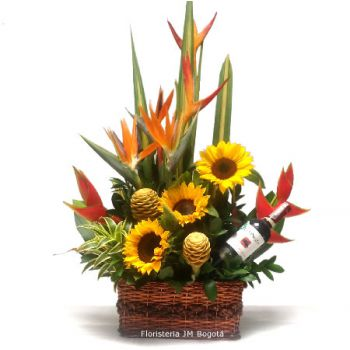 Arreglo Floral con Girasoles y Vino a Domicilio Bogota