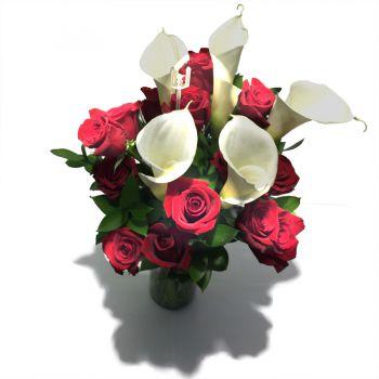 16 Rosas y 5 Cartuchos en Florero cilíndrico, vista superior
