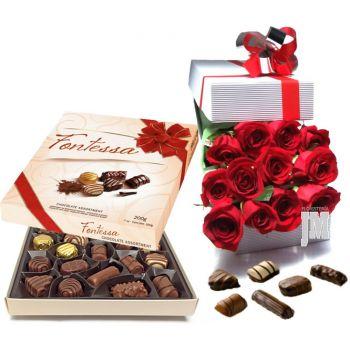 Caja de Rosas tipo Exportacion con Chocolates Fontessa