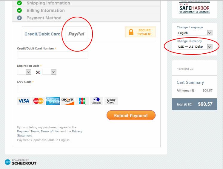 Para pagar con Paypal debe elegir 2CO, pero también dólares