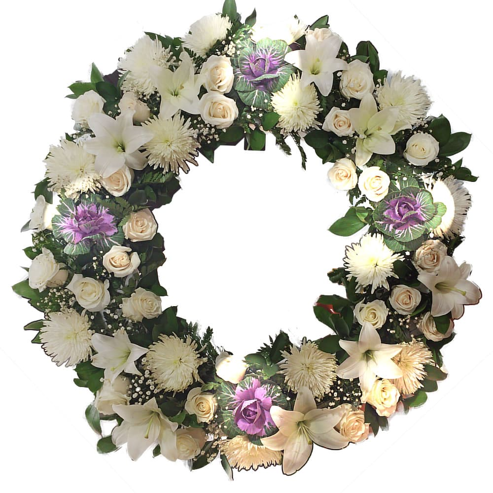 Funeral bogota white flower wreath with 4 purple brassicas tripod funeral flowers bogota white flower wreath with 4 brassicas easel banner izmirmasajfo Image collections