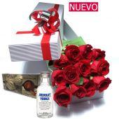 12 Rosas premium mas vodka y chocolates