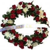 Corona Flores Rojas y Blancas Funeraria en Bogota