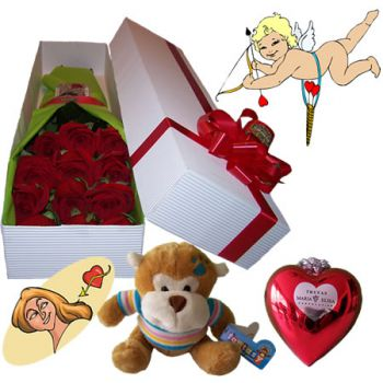 Caja de 12 Rosas + Chocolates + Peluche