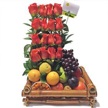 Combo Rosas con Ancheta de Frutas Agrandado