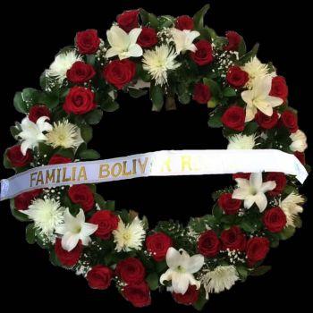 Corona Flores Rojas y Blancas a Funeraria en Bogota