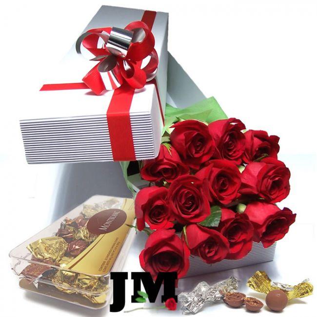 Caja de 12 rosas con caja de lujo de 12 chocolates