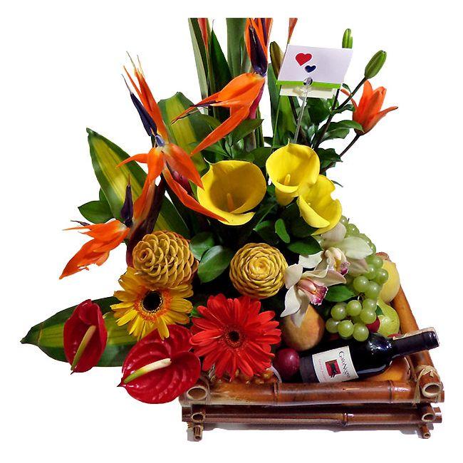 Flores Exóticas Frutas Vino Combo Deluxe